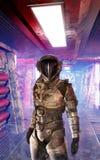 Spaceship corridor and astronaut Royalty Free Stock Photo