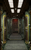 Spaceship corridor background. 3D render science fiction illustration Stock Image
