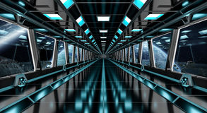 Spaceship corridor with view on distant planets system 3D render Stock Image