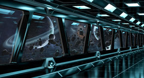 Spaceship corridor with view on distant planets system 3D render Stock Photos