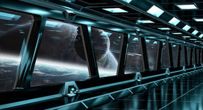 Spaceship corridor with view on distant planets system 3D render Royalty Free Stock Image