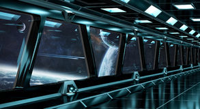 Spaceship corridor with view on distant planets system 3D render Royalty Free Stock Photography