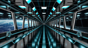 Spaceship corridor with view on the planet Earth 3D rendering el Stock Photos
