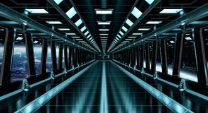 Spaceship corridor with view on the planet Earth 3D rendering el Royalty Free Stock Photo