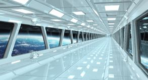 Spaceship corridor with view on the planet Earth 3D rendering el. Spaceship white corridor with view on space and planet Earth 3D rendering elements of this Royalty Free Stock Images