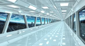 Spaceship corridor with view on the planet Earth 3D rendering el Royalty Free Stock Photography