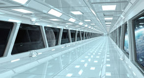 Spaceship corridor with view on the planet Earth 3D rendering el. Spaceship white corridor with view on space and planet Earth 3D rendering elements of this Stock Images