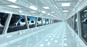 Spaceship corridor with view on the planet Earth 3D rendering el. Spaceship white corridor with view on space and planet Earth 3D rendering elements of this Royalty Free Stock Photography