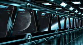 Spaceship corridor with view on the planet Earth 3D rendering el Stock Photo
