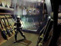 Spaceship corridors Stock Photo