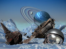 Spaceship crashed on ice  planet. Pieces of a crashed spaceship, and space helmet with the skull of an astronaut, on an iced planet Stock Photo