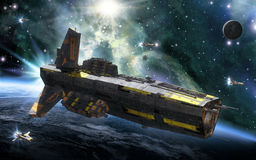 Spaceship destroyer and planet. 3D render science fiction illustration Royalty Free Stock Images