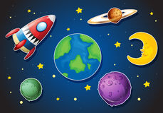 Spaceship and different planets in galaxy stock illustration