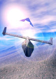 Spaceship dogfight. Two space fighters dogfight in 3d Royalty Free Stock Image