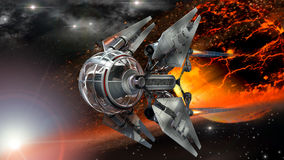 Spaceship drone and fiery planet Stock Photo