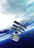 Spaceship in earth orbit Royalty Free Stock Photos