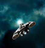 Spaceship Entering a Wormhole. Science fiction illustration of a spaceship about to enter a wormhole in deep space, 3d digitally rendered illustration Stock Images