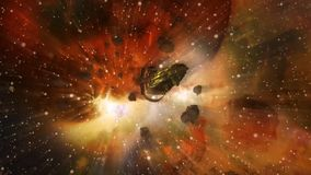 Free Spaceship Escaping From Worlds Collision Stock Image - 155009851
