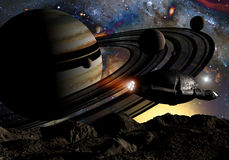 Spaceship exploring. Science fiction spaceship flys over a rocky satellite. Planet with rings, satellites and stars in background Royalty Free Stock Photography
