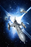 Spaceship fighter and explosion. 3D render science fiction illustration Stock Images