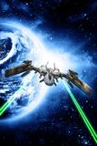 Spaceship fighter open fire. 3D render science fiction illustration Royalty Free Stock Images