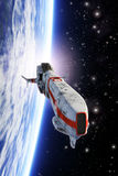 Spaceship fighter orbiting planet. 3D render science fiction illustration Stock Images