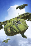 Spaceship fighter on planetary patrol. 3D render illustration Stock Photos