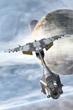Spaceship fighter and planets. Spaceship fighter with pilot and planets 3D render illustration Royalty Free Stock Photos