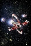 Spaceship fighter and starfield background. 3D render science fiction illustration Royalty Free Stock Images
