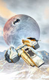 Spaceship fighters and mountainis Stock Photography