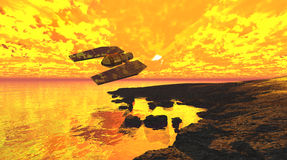 Spaceship flaming sunset. Spaceship flaming cloudy sunset over sea surface fantasy landscape. 3d render Stock Photo