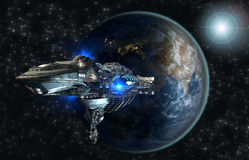 Spaceship fleet leaving Earth Stock Image