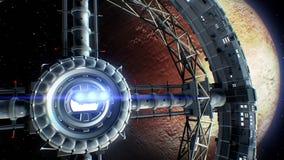 Spaceship flies into the door of giant space torus on Pluto background