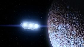 Spaceship flies past Mercury and shining lights of engines, 3d animation. Texture of the Planet was created in the