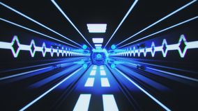 Spaceship Flight inside a Sci-Fi Blue Tunnel Motion Background stock video