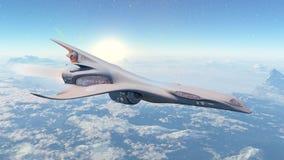Spaceship in flight. Reactora ship across an unknown planet Stock Photos
