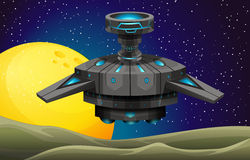 Spaceship floating in the space Stock Image