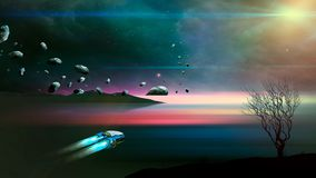 Spaceship fly in sci-fi landscape with asteroid, tree blured water and nebula. Digital painting. Elements furnished by NASA. 3D stock photography