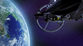 Spaceship flying above earth. NASA image used for planet stock footage