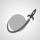 Spaceship flying around planet Royalty Free Stock Photography