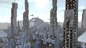 Spaceship flying through corridor to city