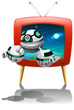 Spaceship flying out of television Stock Image