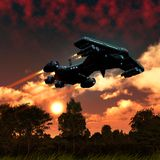 Spaceship flying over an alien planet with trees and plants, sunset with clouds, 3d illustration. Spaceship flying over an alien planet like earth, with trees stock illustration