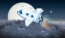 Spaceship flying over the moon Royalty Free Stock Image