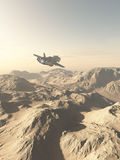 Spaceship Flying Over Mountains on a Desert Planet Stock Images