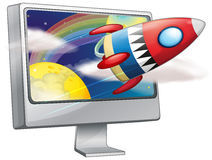 Spaceship flying in the space. Illustration stock illustration