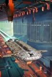 Spaceship and futuristic city stock illustration