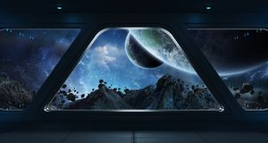 Spaceship futuristic interior with view on exoplanet. 3D rendering elements of this image furnished by NASA Stock Images
