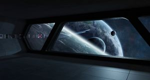Spaceship futuristic interior with view on exoplanet. 3D rendering elements of this image furnished by NASA Stock Photo