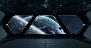 Spaceship futuristic interior with view on exoplanet. 3D rendering elements of this image furnished by NASA Royalty Free Stock Photos